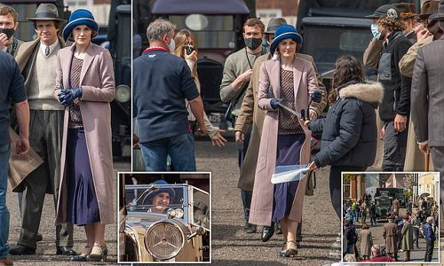 Michelle Dockery transforms into Lady Mary for Downton Abbey filming