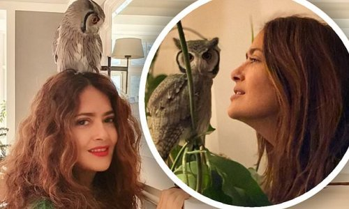Salma Hayek reveals she stays calm by meditating with her pet owl