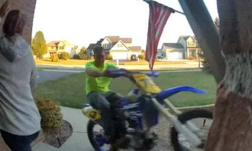 Woman has a lucky escape when motorbike plows into her porch