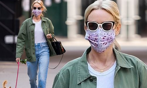 Naomi Watts takes her beloved rescue pup for a walk in New York City