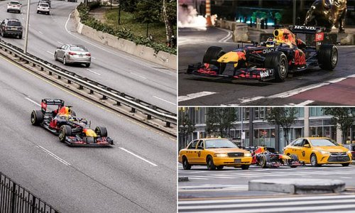Red Bull car rips through the streets of Manhattan in New York