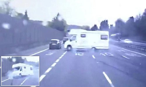 Campervan spins around on the M40 outside Oxford