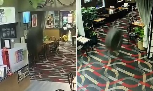 Rogue tyre makes its way through a pub almost cleaning up a man
