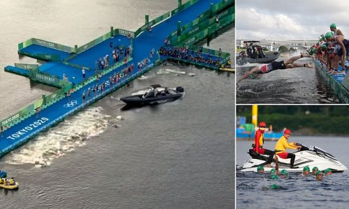 Olympic triathlon held up by false start with BOAT in way of athletes