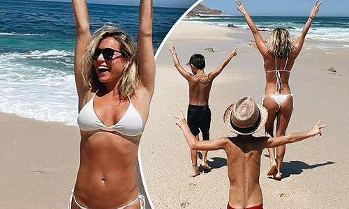 Kristin Cavallari poses in a white bikini while in Mexico