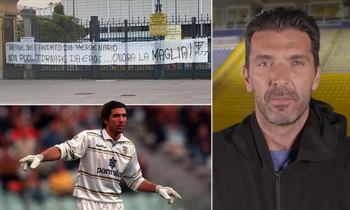 Gianluigi Buffon branded a 'mercenary' by Parma fans in a banner