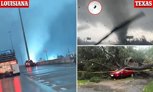 Tornado touches down off the freeway in Lake Charles in Louisiana