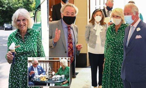 Duchess of Cornwall enjoys ice cream after meeting Andrew Lloyd Webber