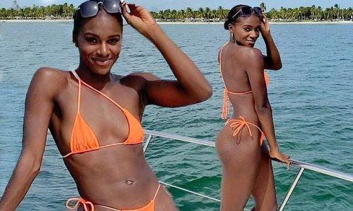 Dina Asher-Smith flaunts her toned physique in a tiny orange bikini