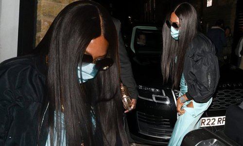 Naomi Campbell looks glamorous in thigh-split turquoise maxi dress