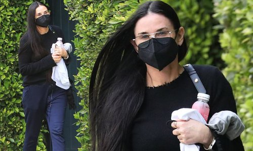 Demi Moore is chic as she rocks all black while leaving Pilates