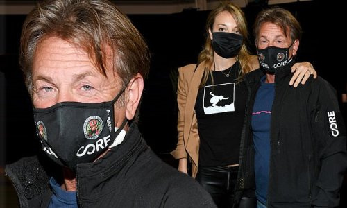 Sean Penn and wife Leila George spotted at Global Citizen Vax Live