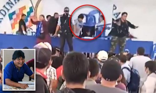 Ex-Bolivian President Evo Morales is hit by a chair at campaign event