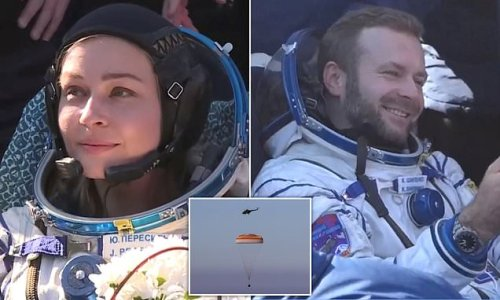 Russian moviemakers return to Earth after 12 days spent filming on ISS
