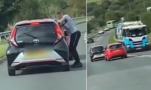 Road-rage driver tailgates car before cutting in front of it