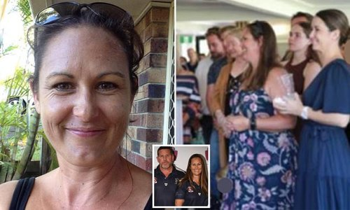 Queensland mother-of-two diagnosed with cancer attends her own funeral