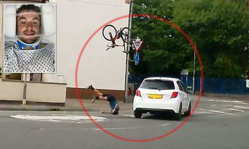 Terrifying moment cyclist was sent flying after being hit by a car