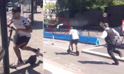 E-scooter rider flees police officer hurling clipboard after him
