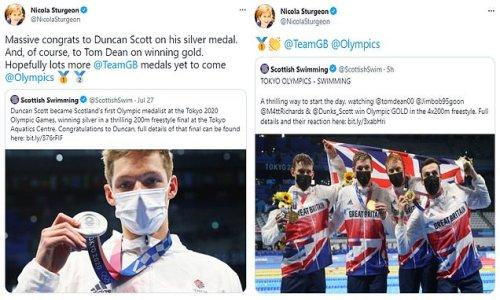 Nicola Sturgeon finally tweets her congratulations to Team GB