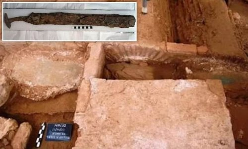 Folded iron sword discovered in a Roman soldier's grave