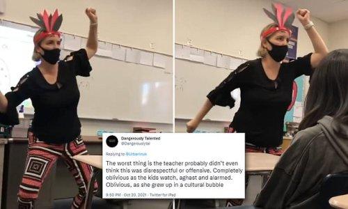 Math teacher in California doing a 'Native American' dance