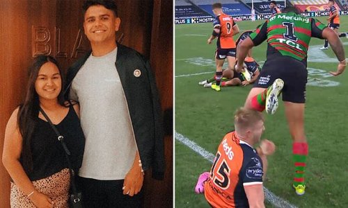 Shocking moment Latrell Mitchell tries to kick a player in the head