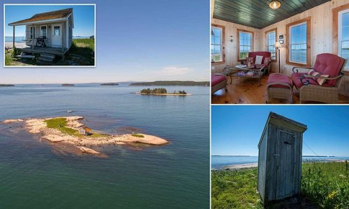 Private island off Maine coast for $339,000 for cottage with OUTHOUSE