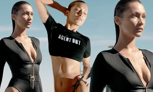 Bella Hadid flashes her tummy as she models 007 collection from Kors