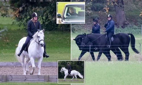 Prince Andrew and Louise Windsor go for a horse ride at Windsor Castle
