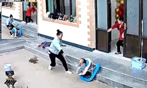 Quick-thinking mother uses broom to stop her son falling onto his head