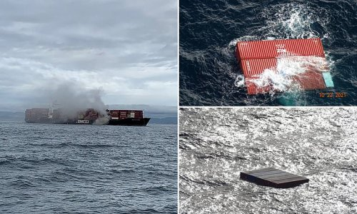 Cargo ship catches fire after dozens of shipping containers fell off
