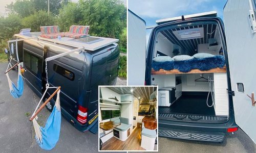 Inside the dream van retreat with a rooftop terrace and bathroom