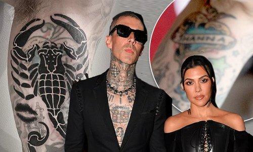 Travis Barker tattoos over ex's name with Kourtney Kardashian's lips