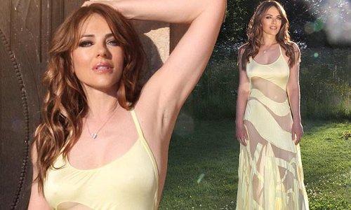 Elizabeth Hurley, 55, showcases her flawless figure in sheer gown