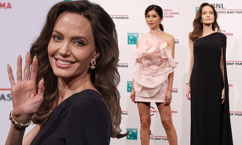 Angelina Jolie looks elegant in chic gown at Eternals photocall