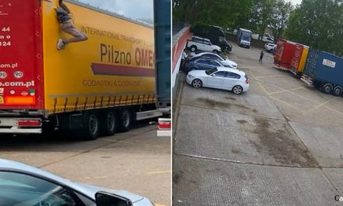 Moment two migrants appear from hole cut in side of lorry in London