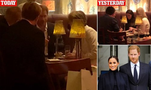 EXCLUSIVE: Prince Harry pictured in swanky NYC bar without Meghan