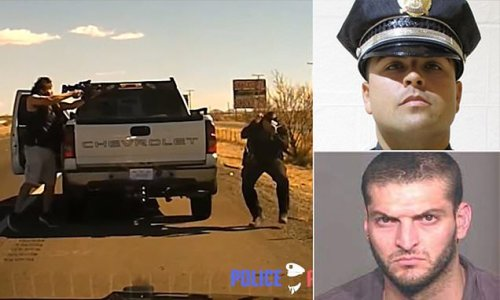 Moment drug dealer, 39, jumps out of his truck and shoots cop dead