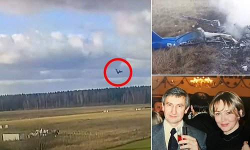 Moment Russian businessman and wife's plane crashes near Moscow