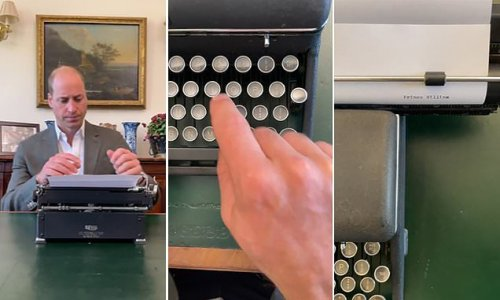 Prince William shares video using a typewriter with one finger