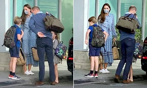 William and Kate are spotted outside Heathrow Airport with children