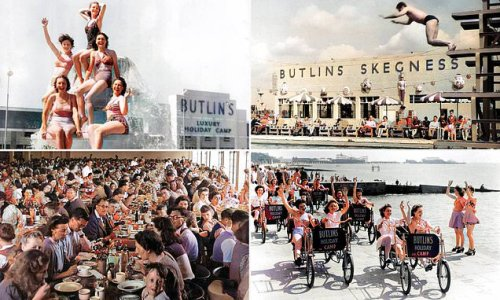 Images taken after WWII show families enjoying themselves at Butlin's