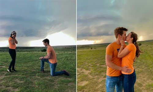 Meteorologist couple gets engaged in front of a TORNADO