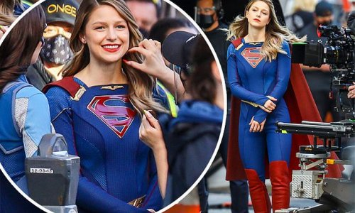 Melissa Benoist hangs out between takes on the set of Supergirl