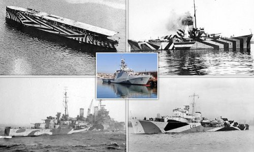 Royal Navy paints HMS Tamar with WWI 'dazzle camouflage'