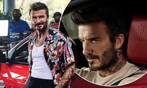 EXCLUSIVE: David Beckham performs his OWN stunts in a red Maserati