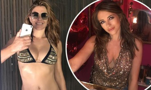 Elizabeth Hurley poses in a bikini and plunging gold top