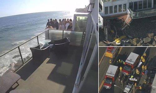 Horrifying moment packed Malibu beach house balcony collapses