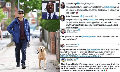 Sadiq Khan walks dog Luna as he retweets congratulations from mayors