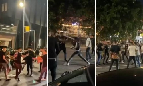 VIDEO: Moment group fight in Manchester late night brawl